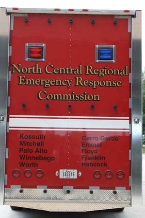 The Back of the North Central Regional Emergency Response Commission HazMat Truck listing the 10 Participating Counties