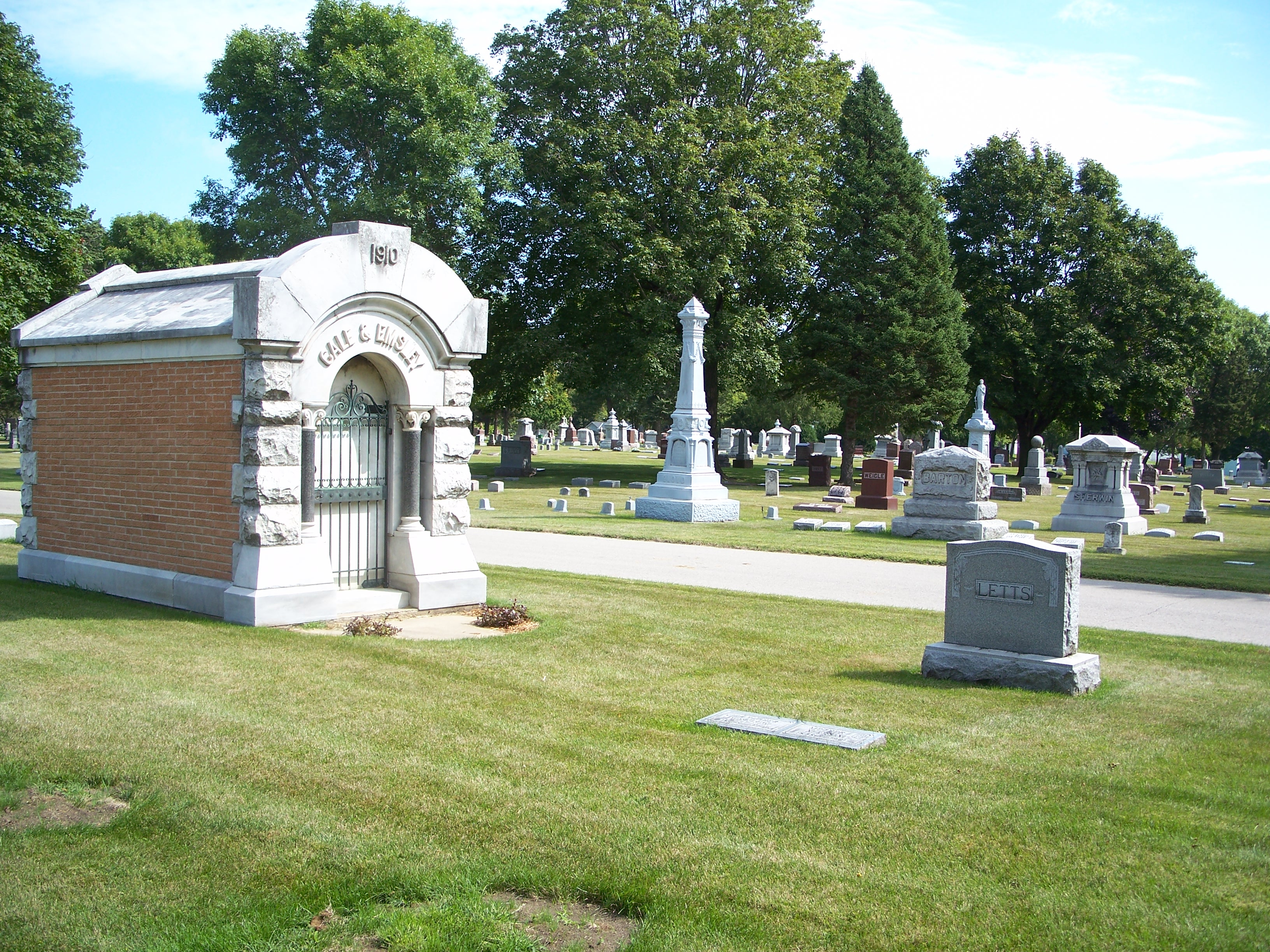 Older section with Gale and Emsley mausoleum